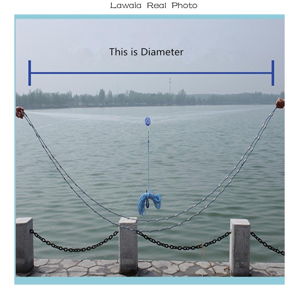 Lawaia American Hand Cast Net Diametrs 2,4 - 7,2 m Zvejas tīkls 4.2m - Makšķerēšana - Foto 5