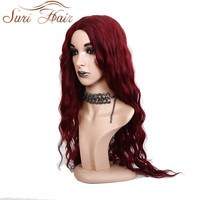 Suri Hair Long Water Wave Black 99j Pure Color Synthetic Wigs Cosplay Hair For Women Heat