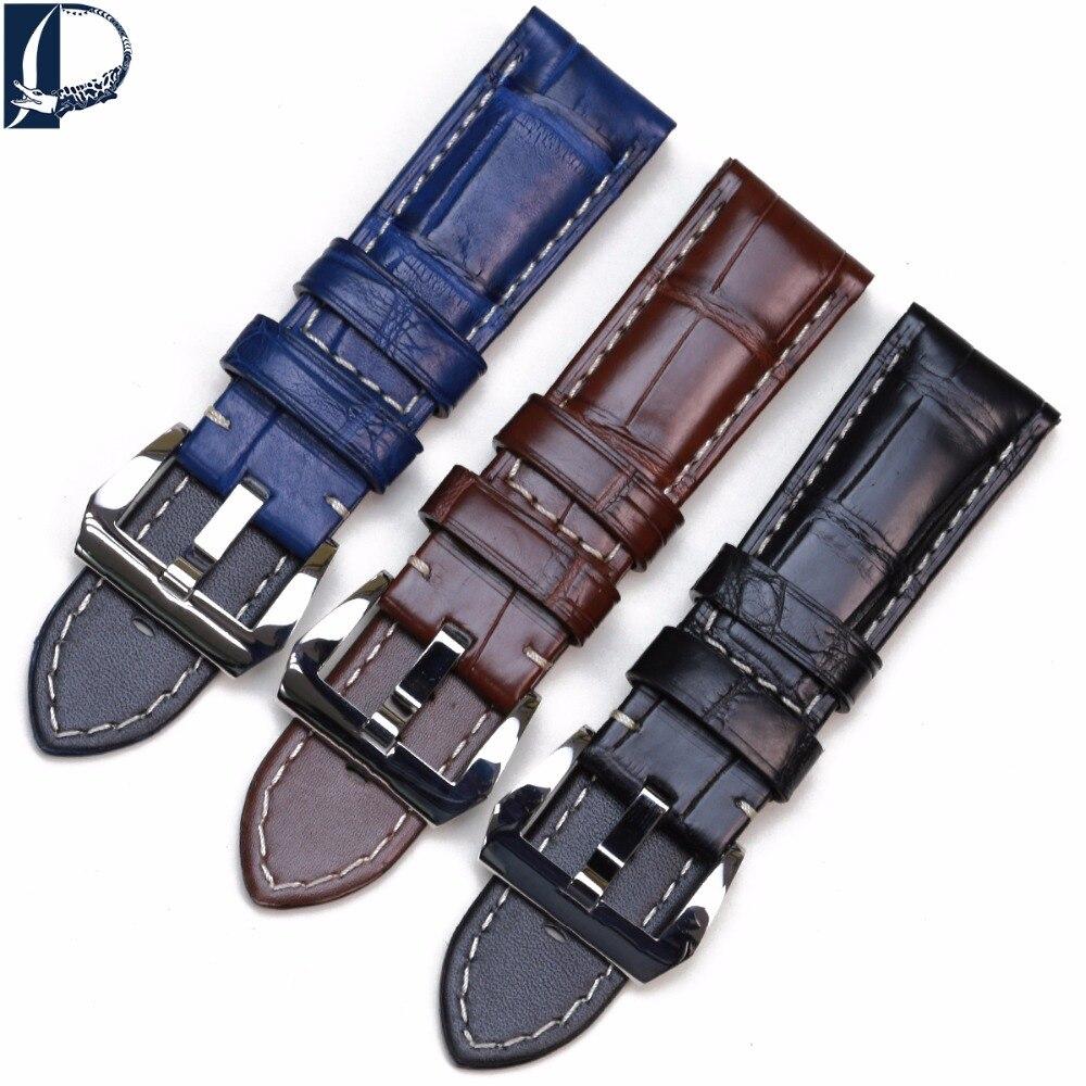 Pesno подходит Panerai LUMINOR MAINA кожа аллигатора Смотреть Band 24 мм черный коричневый синий для мужчин часы интимные аксессуары с пряжкой