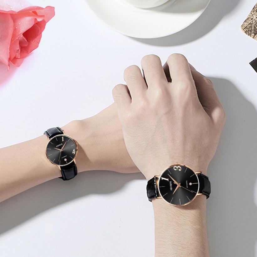 Веселость модные пару часов кожаный ремешок линии Аналоговые Кварцевые женские наручные Часы подарок