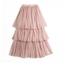 High Quality Elegant Tulle Long Pleated Skirt Women 2019 Summer Beach 3 Layers A-Line tutu Mesh Midi Cake