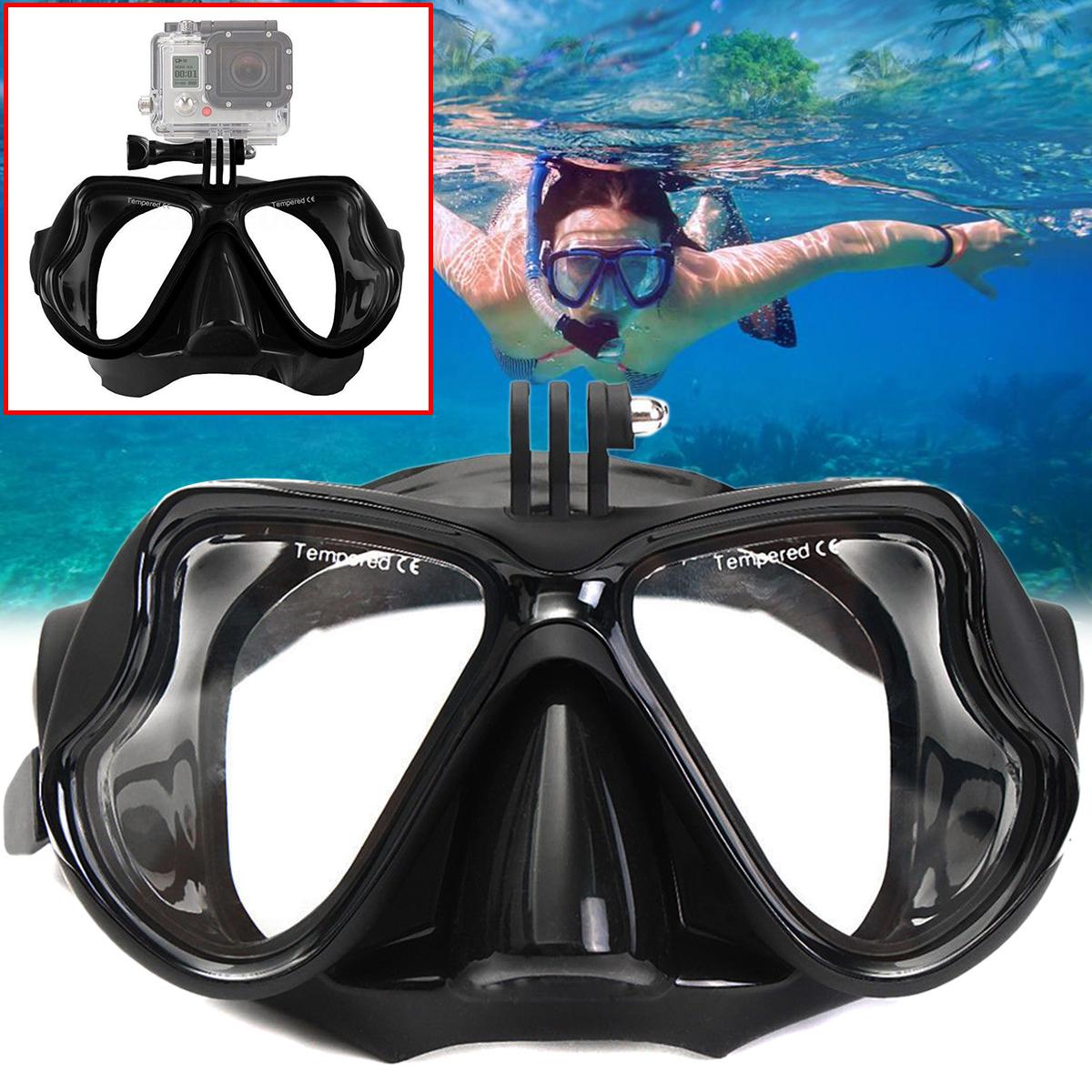 Mayitr Professional Underwater Diving Mask Scuba Snorkel Swimming Goggles Camera Mount Water Sports Equipment New 2017