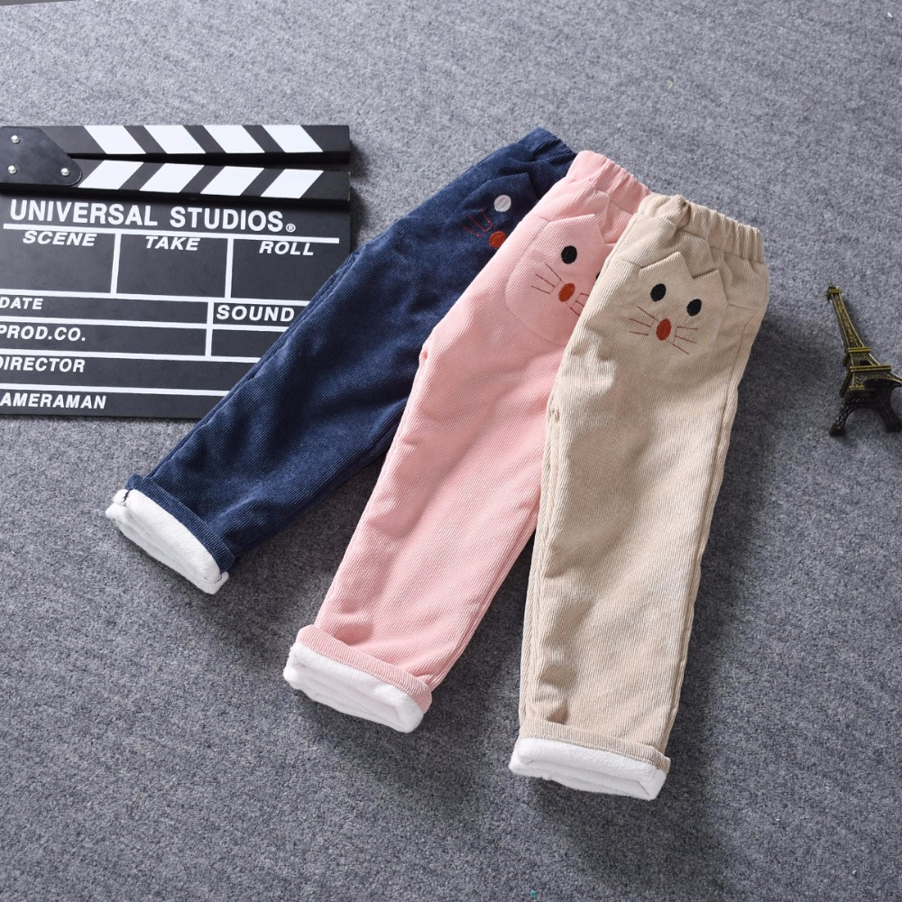 2017 New Winter Chidren Corduroy Trousers Cotton Cartoon Slacks Pattern Embroidery Girls Pants Straight Warm Wool Pant 2-8Y