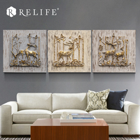 Hot Selling Resin Deer in the Forest Modular Wall Art Oil Painting for Living Room Home Decor