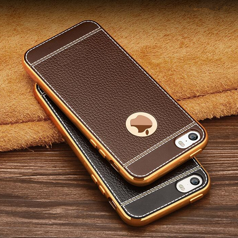 Luxury Leather Pattern Soft TPU Silicone Phone Case For iPhone 5S 5 SE Ultra  Slim Plating Gold Frame Back Cover for iphone5 5G-in Fitted Cases from ... b8dd336f72