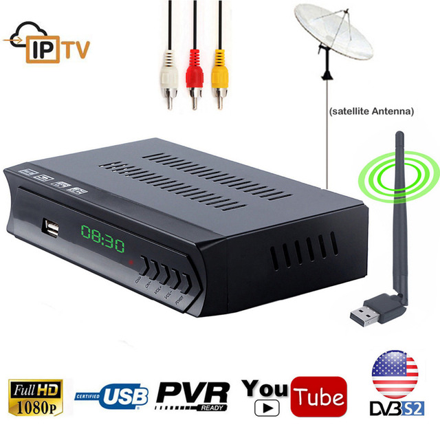 DVB-S2 HD/SD Decoder Digital Satellite Receiver TV Tuner IPTV m3u Combo Player Wifi RJ45 Lan CS Biss Power IKS Cline NewCam PVR