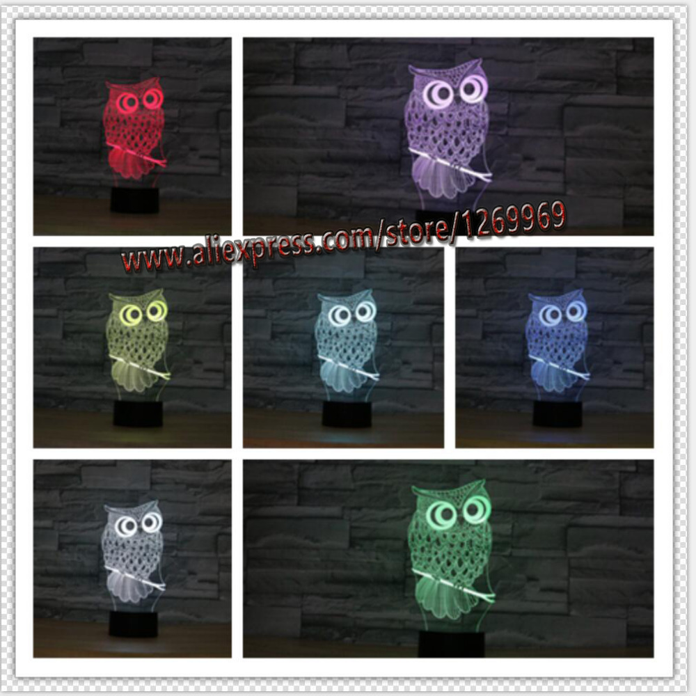 Night owl reading lamps - 3d Owl Led Desk Table Lamp Night Light 7 Color Change Touch Art Home Child Bedroom