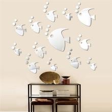 10pcs/Set Fashion Animal Sea Tropical Fish Sticker Acrylic Mirror Sticker  Poster DIY Home Decor Kids Rooms Decoration MA601667
