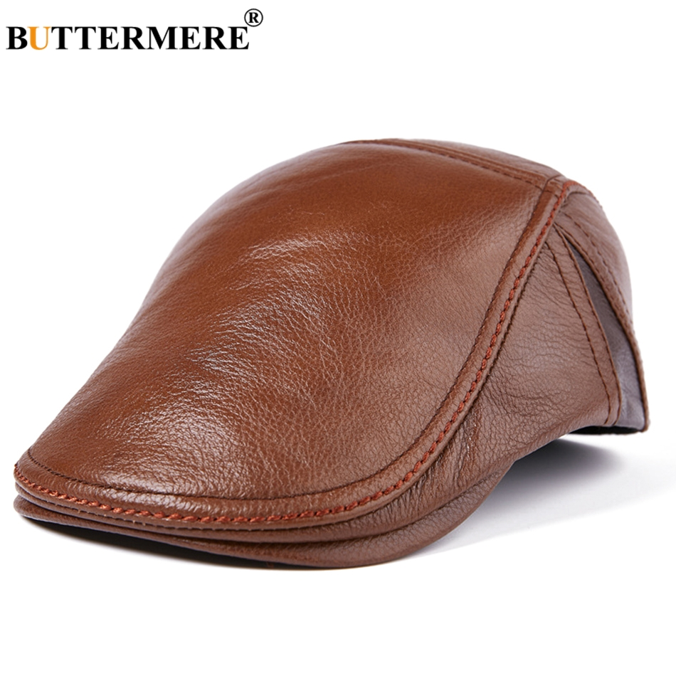 BUTTERMERE Brown Beret Men Leather Flat Caps Male Fitted Vintage Duckbill Hat Genuine Leather Autumn Winter Classic Cabbie Caps
