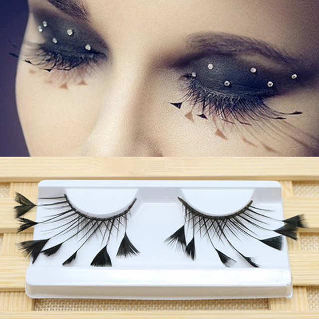 1 Pair Masquerade Stage Charming False Eyelash Art Artificial Feather Soft Makeup Party Fashion Exaggerated Tool Long Reusable