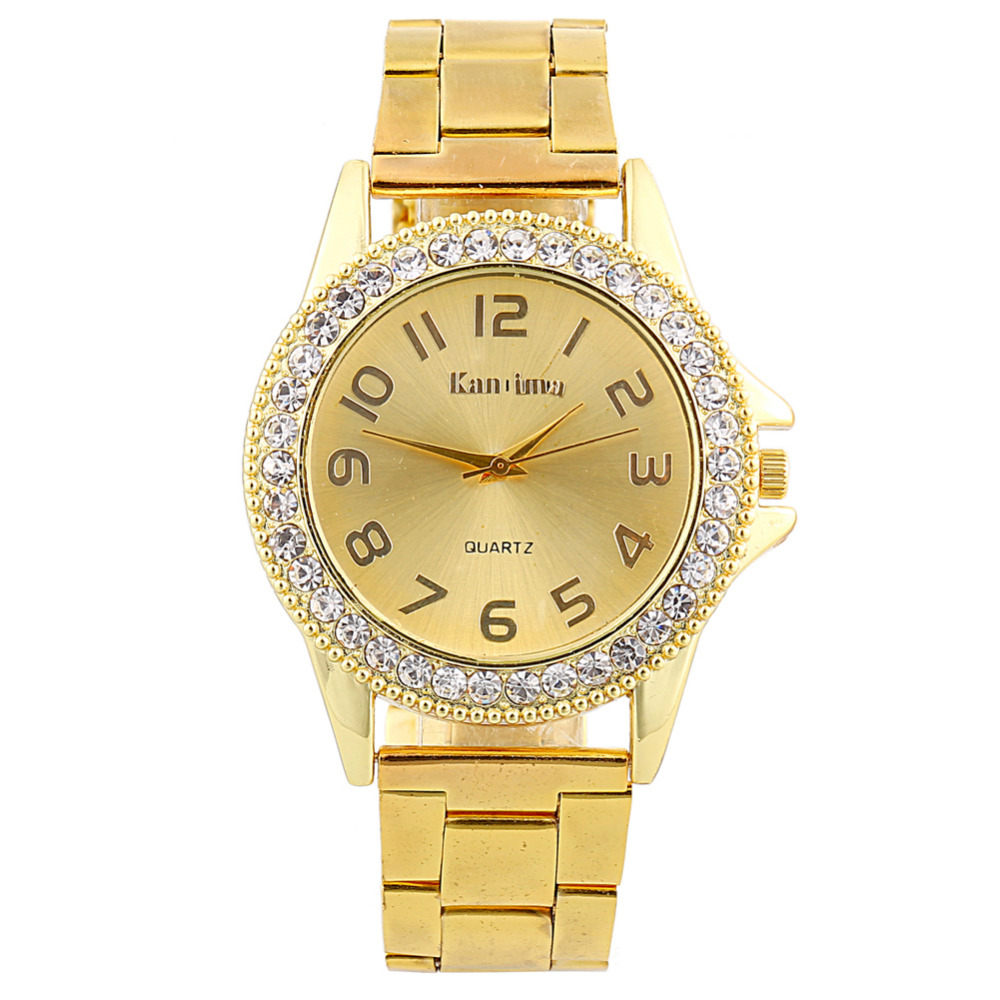 2017 New Gold Crystal Casual Quartz Watch Women Full Stainless Steel Watches Relogios Feminino Ladies Clock Bayan Saat Hot Sale new luxury brand dqg crystal rosy gold casual quartz watch women stainless steel dress watches relogio feminino clock hot sale