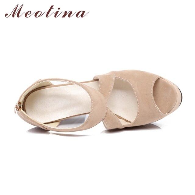 Meotina Designer Shoes Women Sandals Platform Sandals Shoes Cross Strap High Heel Sandals Zip Ladies Sexy Party Shoes Size 34-43
