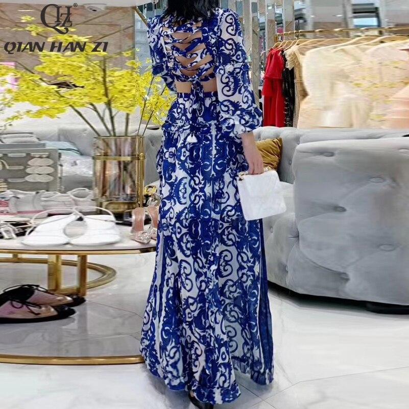 Qian Han Zi 2019 mode Maxi jurk Vrouwen Lantaarn Mouw V hals Blauw en wit porselein Print Backless toevallige strand lange jurk-in Jurken van Dames Kleding op  Groep 3