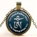 Glass Choker Om Mani Padme Hum design pendant necklace collar bijoux femme choker necklace vintage Jewelry accessories B191