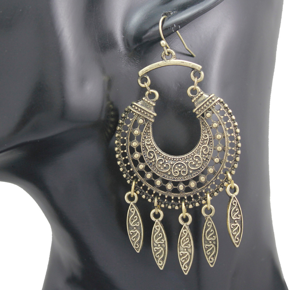 Vintage Gold Ethnic Retro Bali Jhumka Jhumki Crescent Drops Mexican Gypsy Dangle Drop Earrings Jewelry
