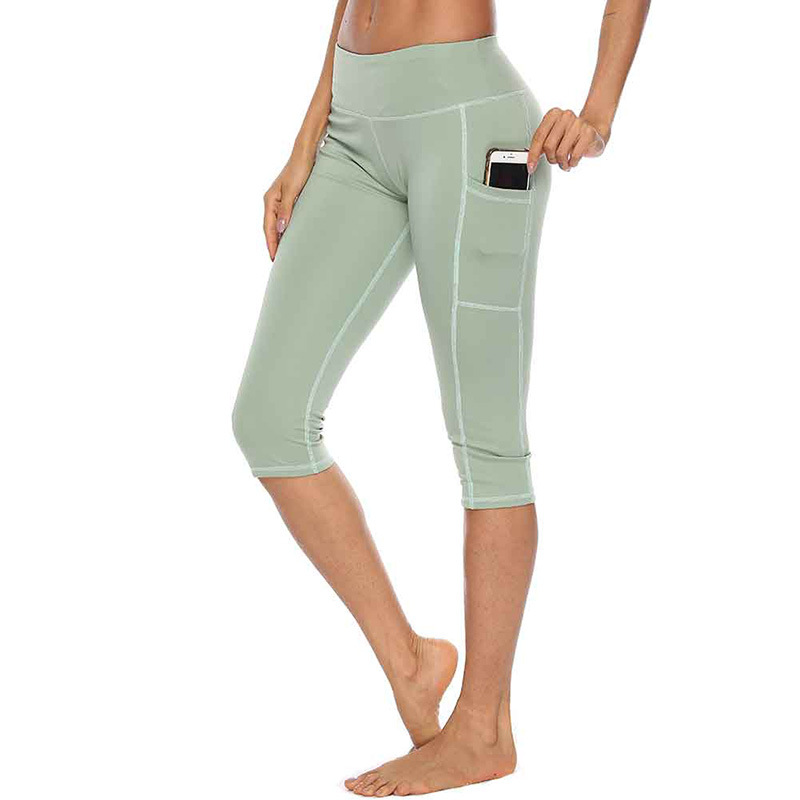 Summer Sexy Womens Leggings Women Workout Out Side Pocket Leggings High Waist Fitness Capri Sports Athletic Pants Solid Trousers