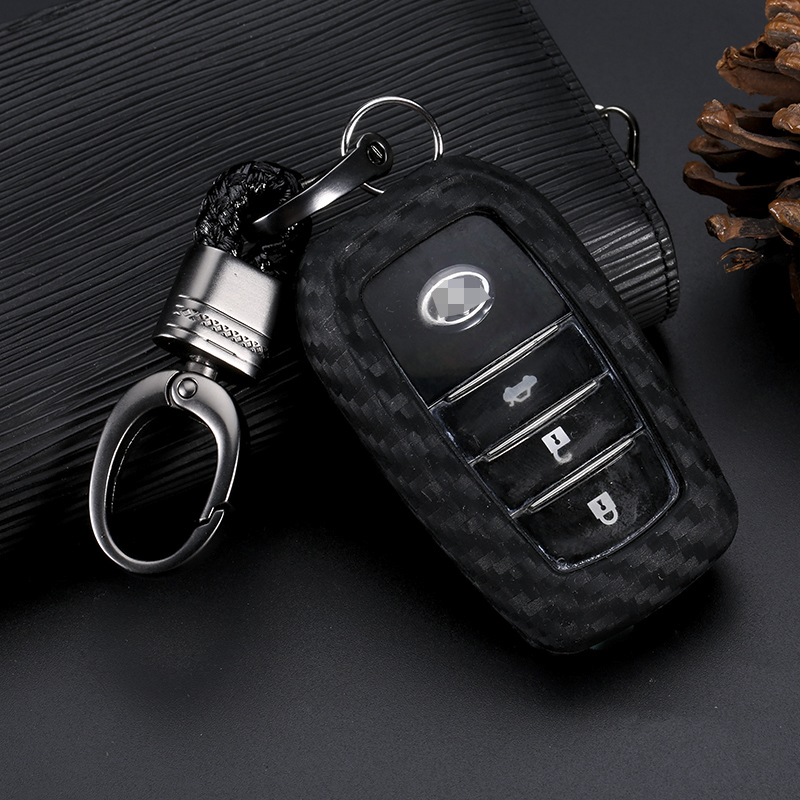 1 Stücke Carbon Faser Silikon Auto Schlüssel Abdeckung Fob Fall Abdeckung Für Toyota Camry Corolla Avalon Rav4 Land Cruiser Keychain