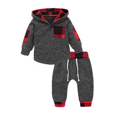 Autumn Winter Keep warm Infant Toddler Baby Boys Girls Cotton Long Sleeve Fashion Plaid Hooded Pullover Tops Pants Outfits M5(China)