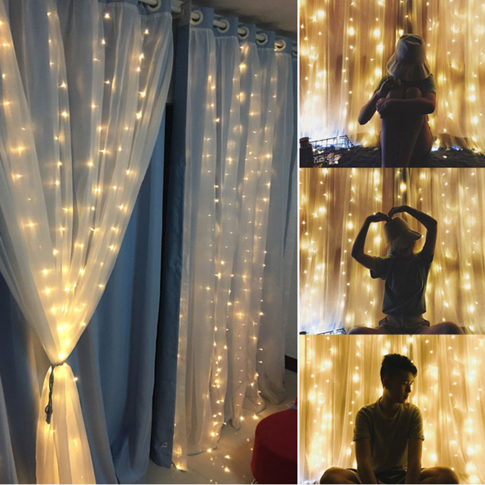Fairy Lights Wedding Reception Ideas: 1 Pc 3x3M 300 Led Curtain String Lights Waterproof Flasher