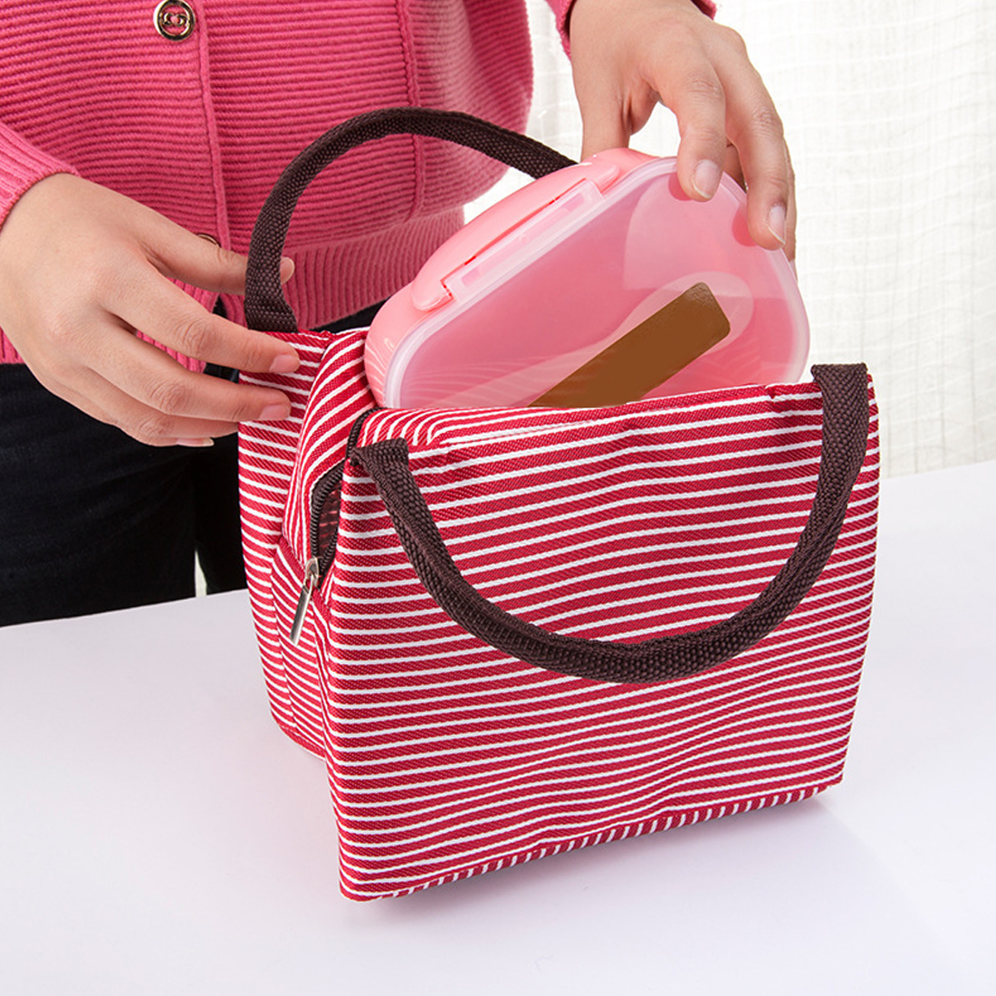 Portable Lunch piknik Bag Canvas Stripe Insulated Cooler Bags Thermal Food Picnic Lunch Bags Kids Lunch Box Bag Tote