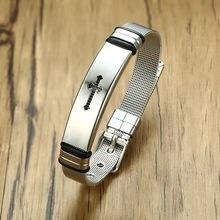 Мужской браслет из нержавеющей стали серебристый цвет регулируемый