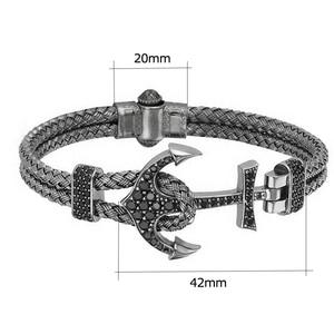 Image 5 - Anchor Cuff Bracelets & Bangles Men Atolyestone Bracelet Gold Stainless Steel Anchor Black Leather Cuff Bangles Pulsera BCB 0125