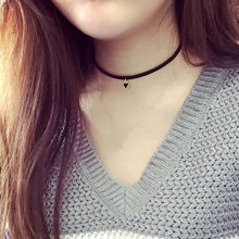Hot Selling 2016 Fashion Punk Black Rope Chain Tattoo Choker Triangle Pendant Choker Necklace Clavicle Chain Statement Necklace(China)