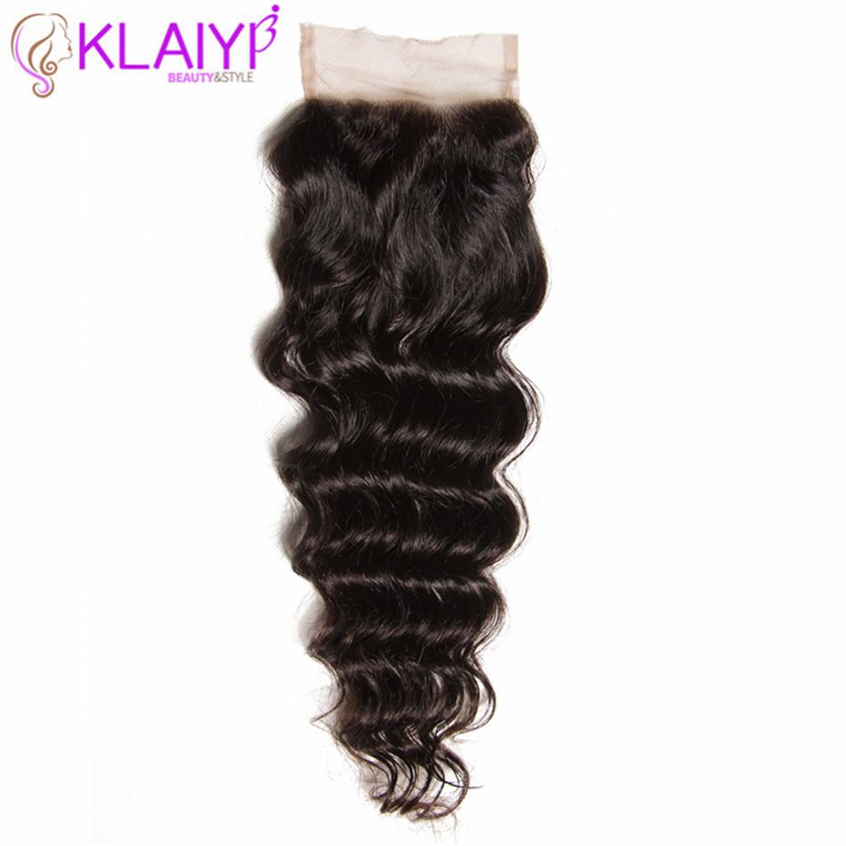 Klaiyi Hair Brazilian Natural Wave Lace Closure Free/Middle/Three Part Remy Human Hair 4x4 Inch Swiss Lace Top Closure