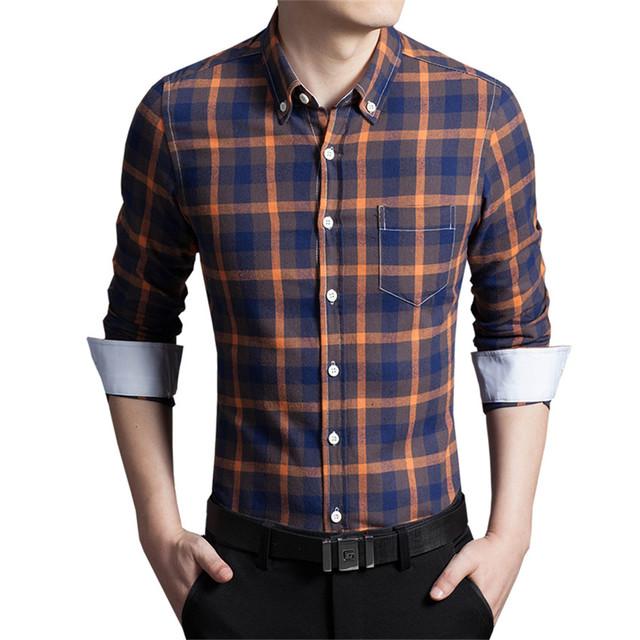 Novo 2016 Outono Dos Homens Camisa de Algodão De Alta Qualidade Turn-down Collar Camisas Dos Homens Slim Fit Listrado Plus Size M-5XL frete Grátis
