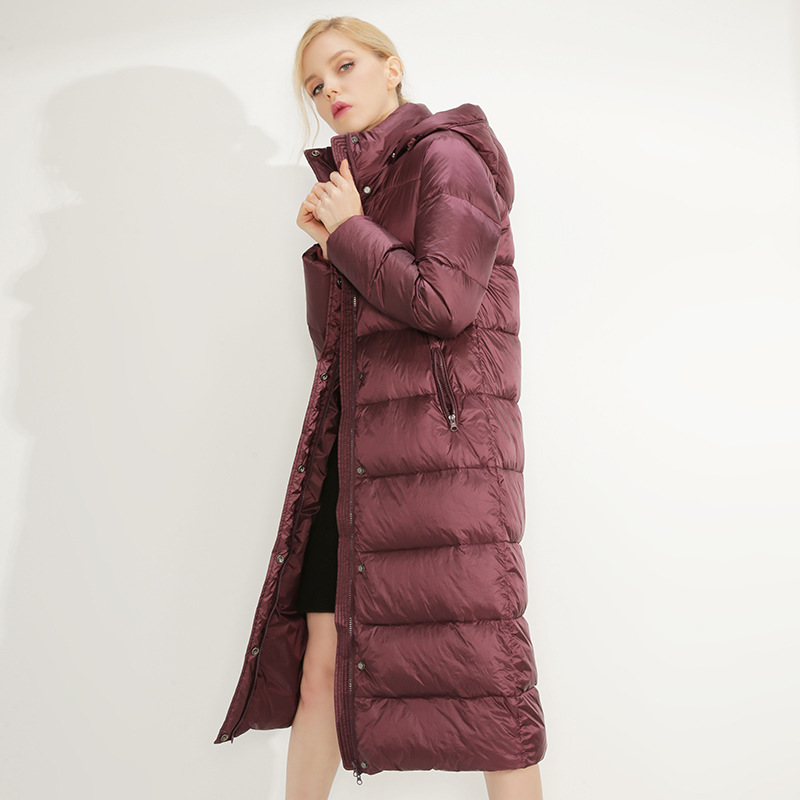 New Winter 2018 High-end Women's Fashion Hooded X-long   Down   Jacket High Quality Female Duck   Down   Warm   Coat