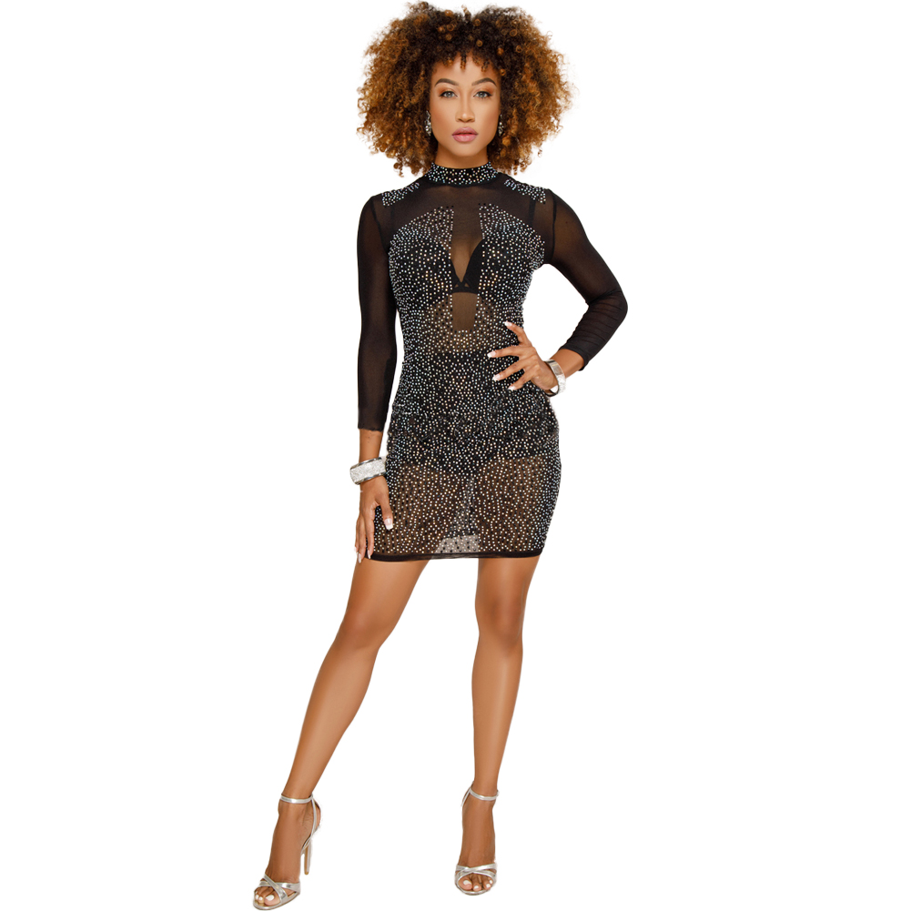 Women's Clothing Latest Style 2019 Spring Fashion Woman Sheer Mesh Spliced Pu Leather Dress Sexy See Through Rhinestones Package Hips Dresses