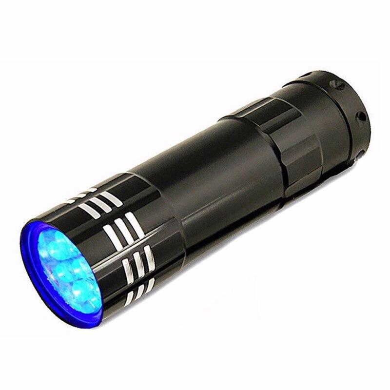 Portable Black 9 Led Ultraviolet Torch Light Mini Aluminum Uv Flashlight Violet Lamp For Household Outdoor Using Light Led Lighting