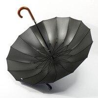 16 Ribs Wooden Long Handle Creative Umbrella Led Automatic Windproof Mens Umbrella Wooden Handle Rain Unbrellas Parapuie 50ys004