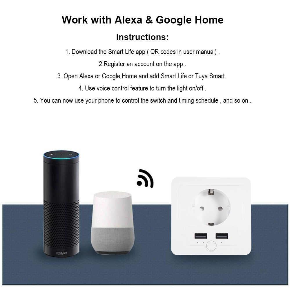 Wifi inteligentna ściana gniazdo ue z 2 portami USB 15A wyłącznik czasowy przełącznik sterujący sterowanie głosowe współpracuje z aplikacją Alexa Google Smart life