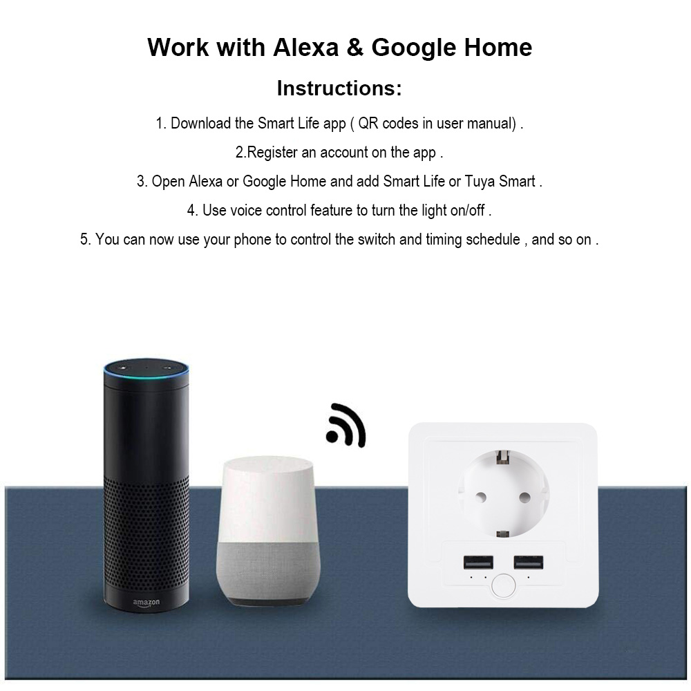 wifi Smart Wall EU Socket With 2 USB Ports 15A timer switch Control outlet  voice control Works with Alexa Google App Smart life