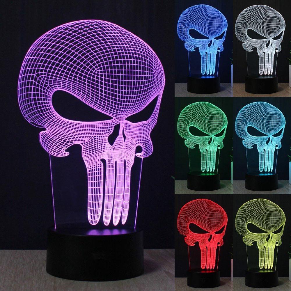 Visual Led Night Childrens Kid Gift Punisher Skull 3D Led Night Light 7 Colors Change Touch Switch Table Desk Lamp