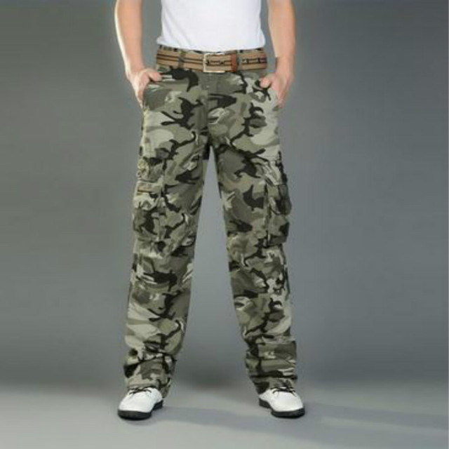 Men's Combat Multi-Pockets Utility Casual Loose Long Full Length Cargo Pants Work Trousers Camouflage Size 28-38