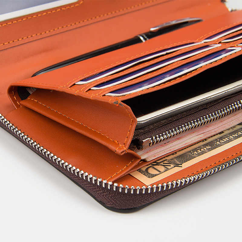 Cartera para hombre con tarjetero de crédito, cartera larga para hombre, Cartera de cuero PU, bolsillo con cremallera en efectivo, bolso informal para mujer