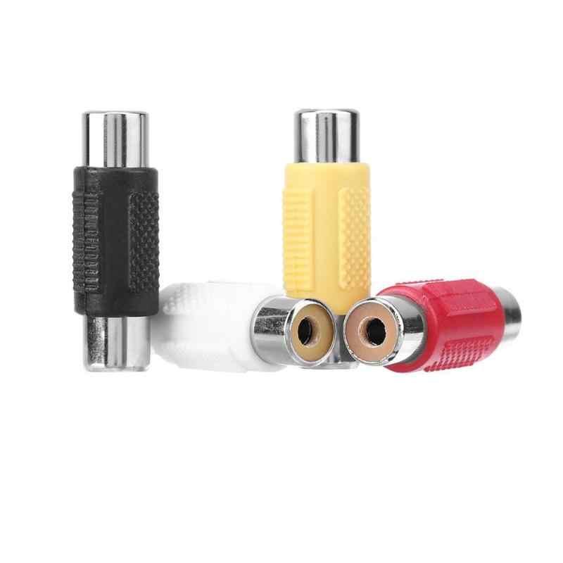 Alloyseed 4 Pcs/set Berlapis Emas RCA Female Ke RCA Female Konektor AV Plug Jack Adapter AV untuk AV Audio kabel Konektor Plug Kit