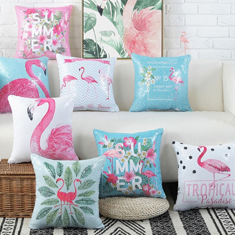 4043659304 Drop Ship Reversible Sequin Cushion Cover Mermaid Bling Bling Print  Flamingos Pillow Cover Home Decor Glitter Throw pillowCasse