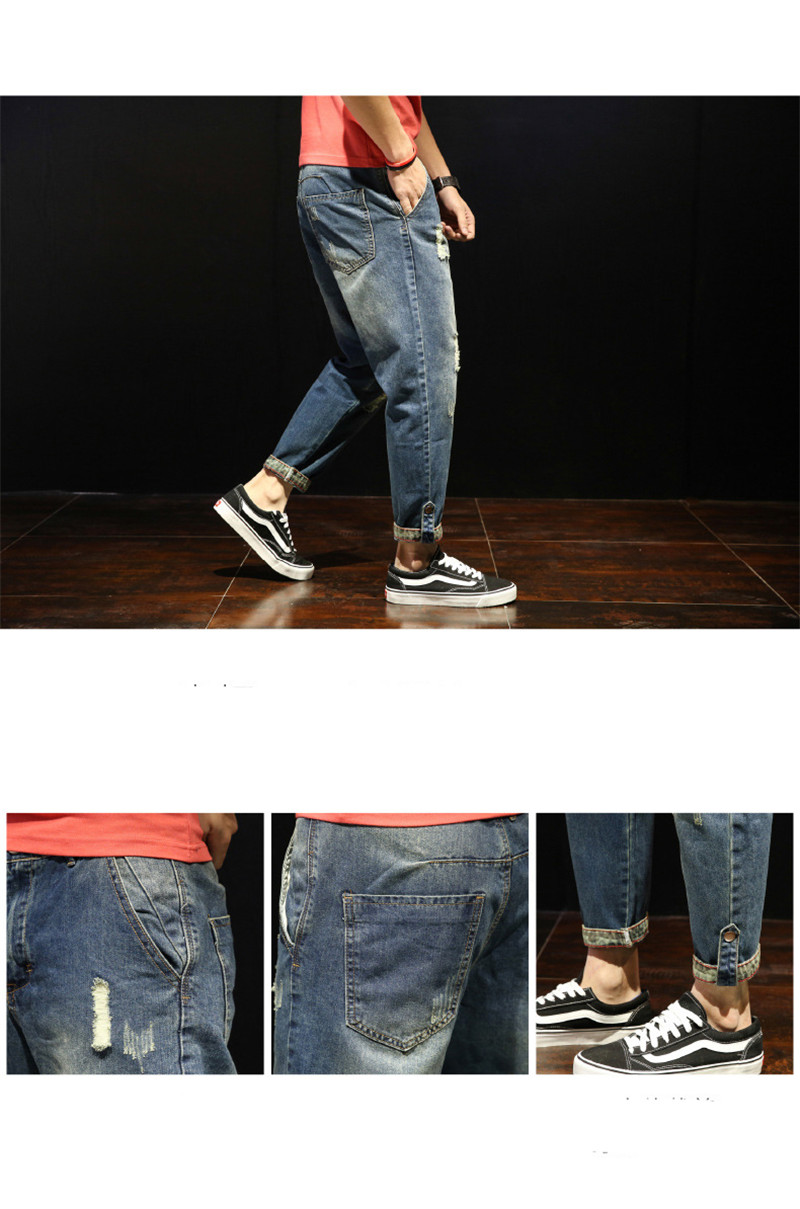Fashion Patchwork Ripped Men's Jeans Boys Loose Casual Holes Ankle-Length Harem Pants Jeans Trousers Large Size (17)