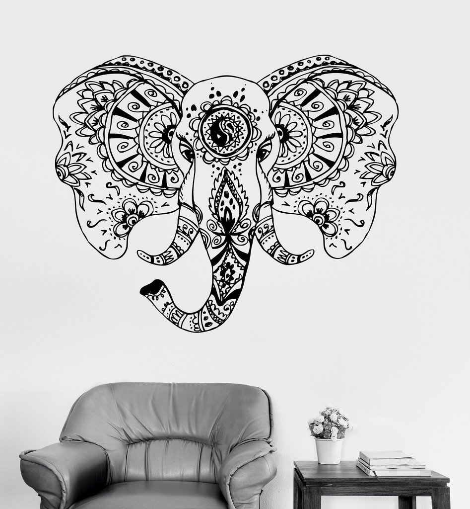 Gajah kepala vinyl dinding stiker hewan ornamen wall sticker kreatif desain tribal art dinding tato untuk ruang tamu sa182 di wall stickers dari rumah