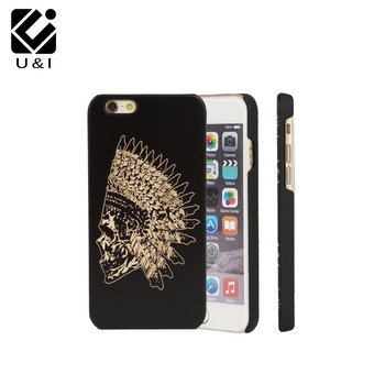 Indian Head U&I Capa Phone Case For iPhone 5 5S 6 6S 7 6Plus 7Plus Black Elephant Cover Engrave Flower Engraving Skull Fundas iPhone 8