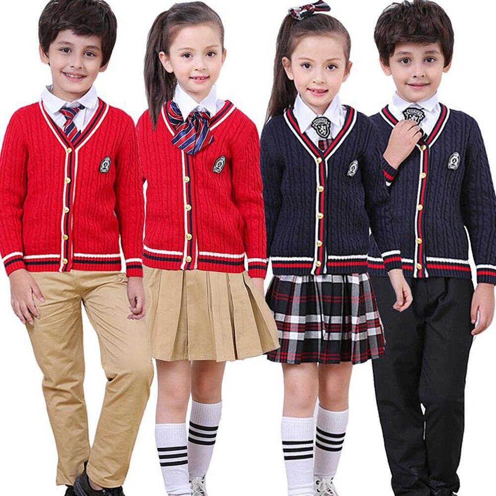 Enfants automne uniforme école enfants costumes garçons filles japonais coréen chandail veste étudiant style britannique costume tenues