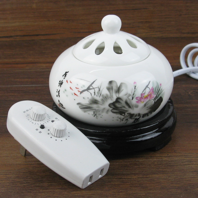 Electronic Timing Thermostat Stove Ceramic Burner Incense Furnace Oil Plug Lamp Wood Dust Cover Furnishing Decoration Air Clean