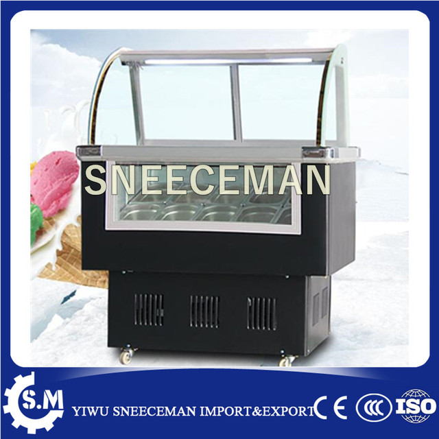 Portable Ice Cream Showcase Gelato Display Cabinet For