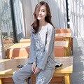 Venta CALIENTE de calidad de la marca de otoño Invierno de algodón de Impresión simple mujeres pijamas conjuntos pijamas de la mujer para las mujeres más tamaño hembra Traje