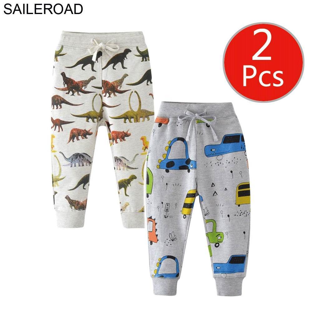 SAILEROAD 2pcs Dinosaur Pants Kids Boys Pants for Boys Animal Print Children's Pants for Baby Clothes 7Years Kids Sweatpants 3