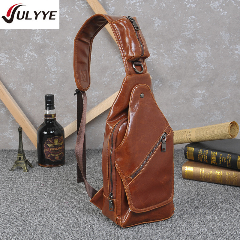 YULYYE High Quality Fashion Men Chest Bags Men Convenient Bags Multifunction Rucksack Shoulder Strap BackBag Leather Travel Bag