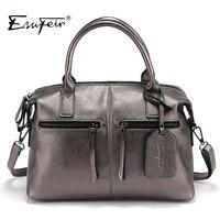 2017 Genuine Leather Boston Women Handbag Fashion Luxury Shoulder Bag Solid Zipper Women Pillow Bag Ladies